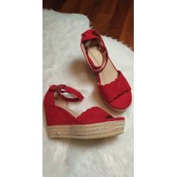 Sandales compensées lanière