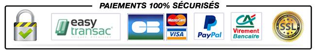Paiement par Visa, Mastercard, PayPal, Virement bancaire, Easy Transac, Credit Agricole